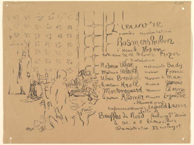 Rosmersholm, Program from Théâtre de l'Oeuvre, October 1893