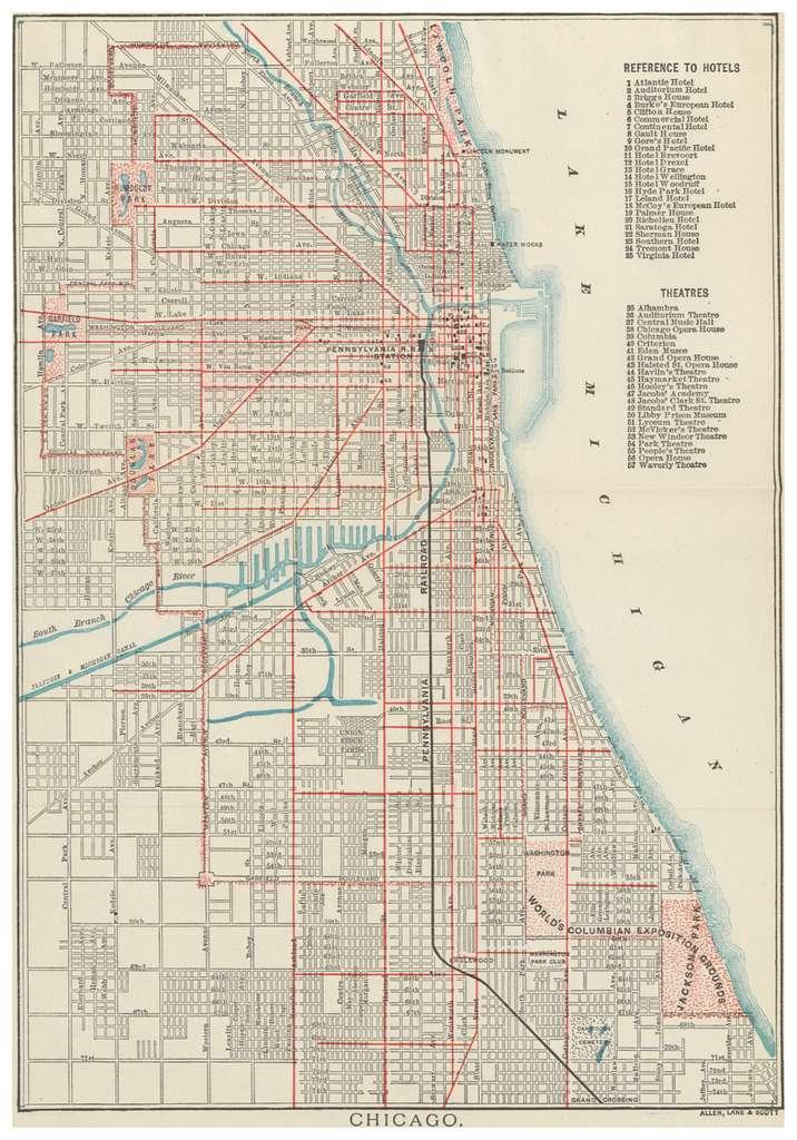 PRR(1893) Railroad Lines CHICAGO