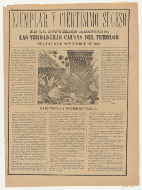 Broadsheet relating to the causes of the earthquake on 2 November 1894