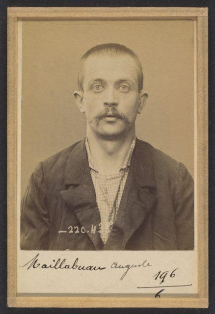 Maillabuau. Auguste, Léon. 30 ans, né le 23/8/93 à Paris Vle. Anarchiste. 2/7/94.