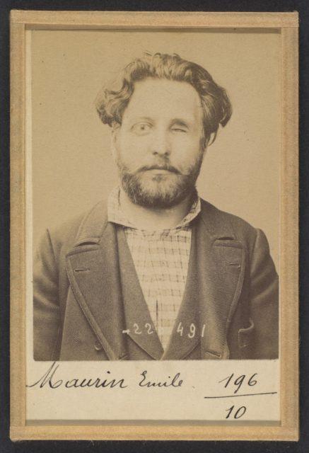 Maurin. Émile, Auguste. 31 ans, né à Marseille (Bouche du Rhône). Ex photographe. Anarchiste. 2/7/94.