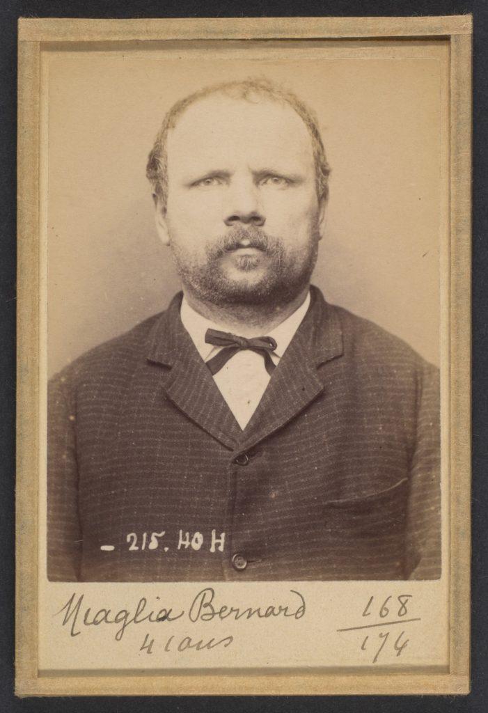 Miaglia. Bernard. 41 ans, né à Giaglione (Italie). Cordonnier. Anarchiste. 9/3/94.