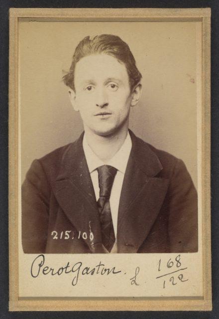 Perot. Gaston, Auguste. 22 ans, né à Paris XVllle. Journalier. Anarchiste. 4/3/94.
