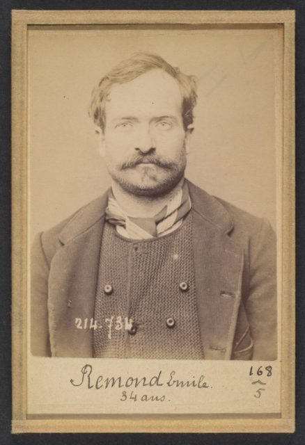 Remond. Émile, Adolphe. 34 ans, né à Bagnolet (Seine). Carrier. Anarchiste. 26/2/94.