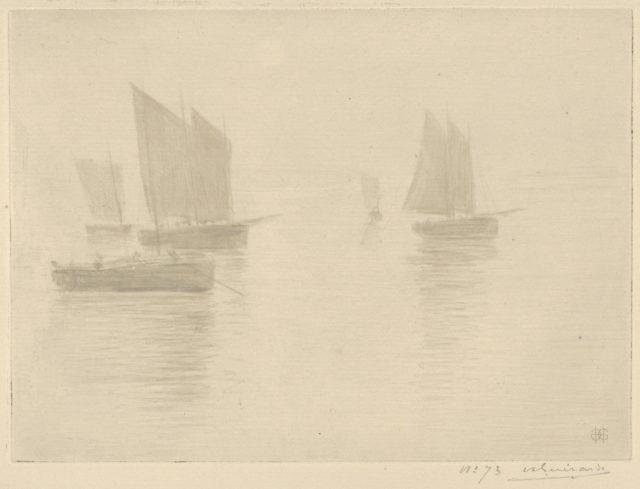 Return from Fishing, Honfleur (Retour de Peche, Honfleur) (Bateaux dans le brouillard / Boats in a Fog)