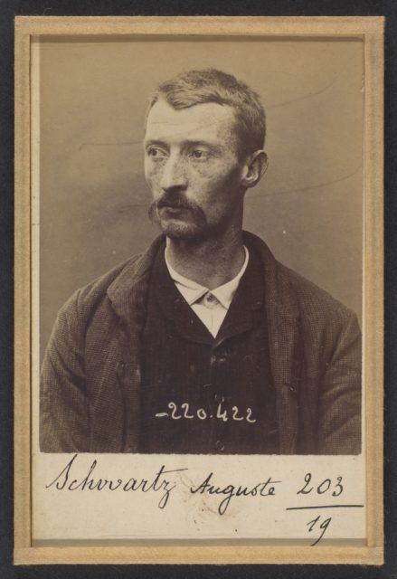 Schwartz. Auguste. 31 ans, né à Paris Xlle le 23/1/63. Maroquinier. Anarchiste. 2/7/94.