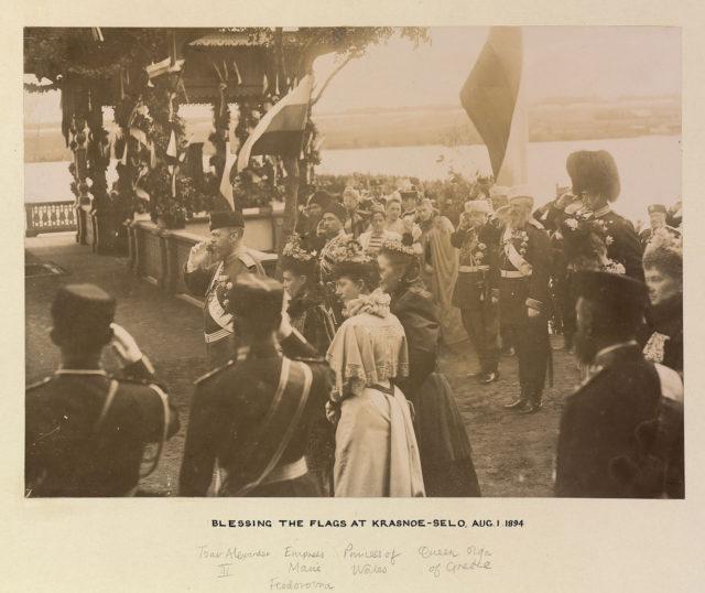Alexander III, Maria Feodorovna, Princess of Wales, Queen Olga of Greece. Blessing of flags in Krasnoe Selo