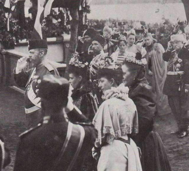 Alexander III, Maria Feodorovna, Princess of Wales, Queen Olga of Greece. Blessing of flags in Krasnoe Selo.
