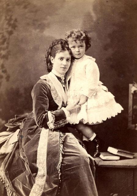 Wife of Alexander III, Maria Feodorovna with fututre Nicholas II
