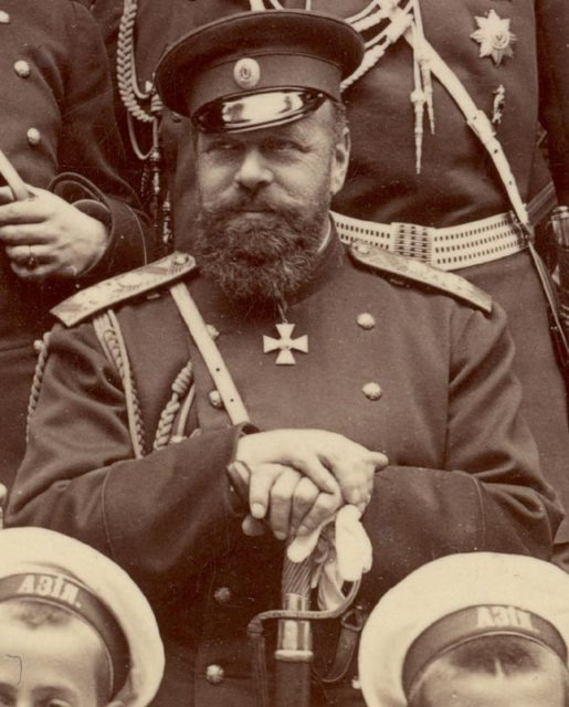 Emperor of Russia Alexander III with officers