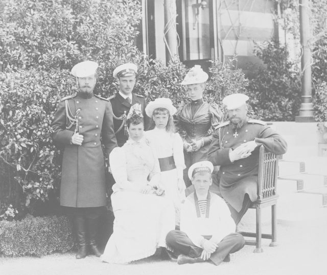 Alexander the Third with his wife and children, including Tsesarevich Nikolai Alexandrovich