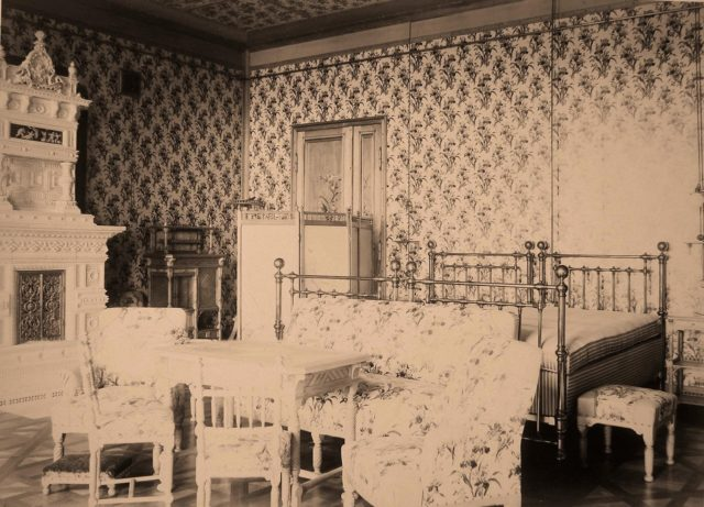 Bedroom of the emperor and the empress at the Imperial Palace in Belovezh