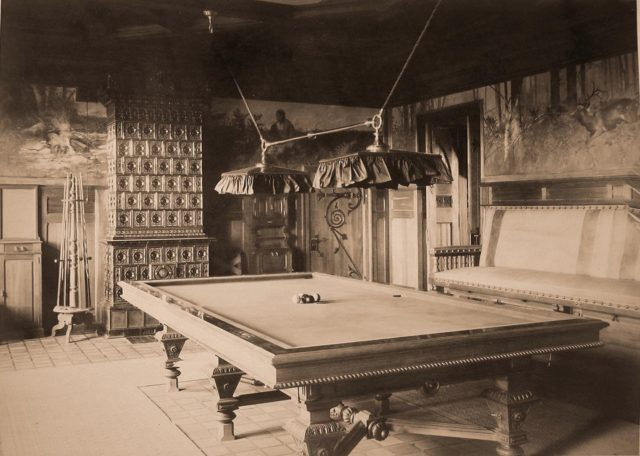 Billiard room in the Hunting Belovezh Palace.