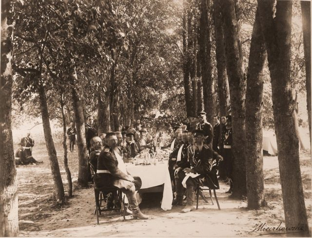 Emperor Alexander III, Empress Maria Feodorovna, group of military ranks during a dinner in the forest.