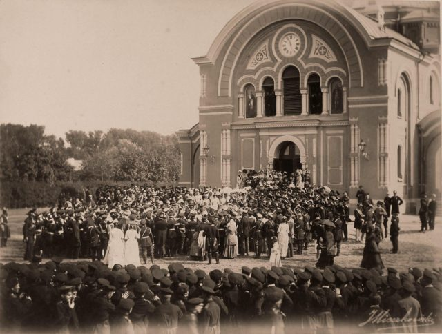 Emperor Alexander III, Empress Maria Feodorovna leaving the cathedral