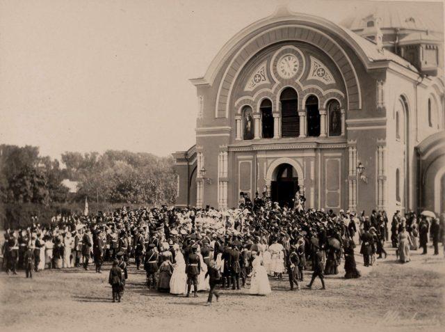 Emperor Alexander III, Empress Maria Feodorovna leaving the cathedral