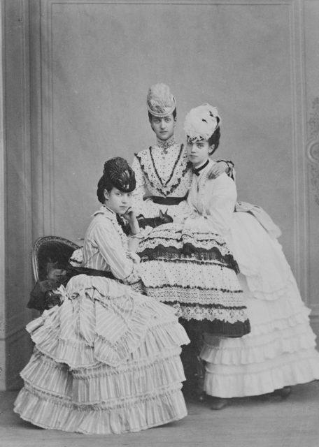 Princess Alexandra, Tsarevna Maria Feodorovna and Princess Tire. Empress Maria Feodorovna and her sisters. Denmark.