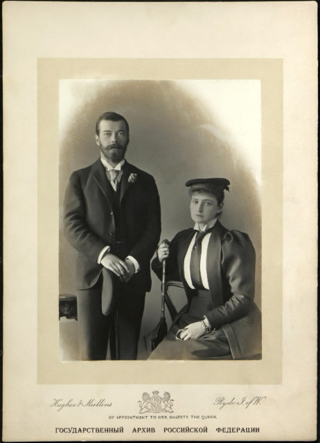 Tsesarevich Nicholas of Russia and Princess Alix of Hesse . 1894 . London.