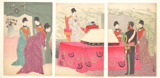 Illustration of the  Empress Visiting the General Staff Headquarters [to present a tray of bandages]  (Sanbō honbu gyōkei no zu)