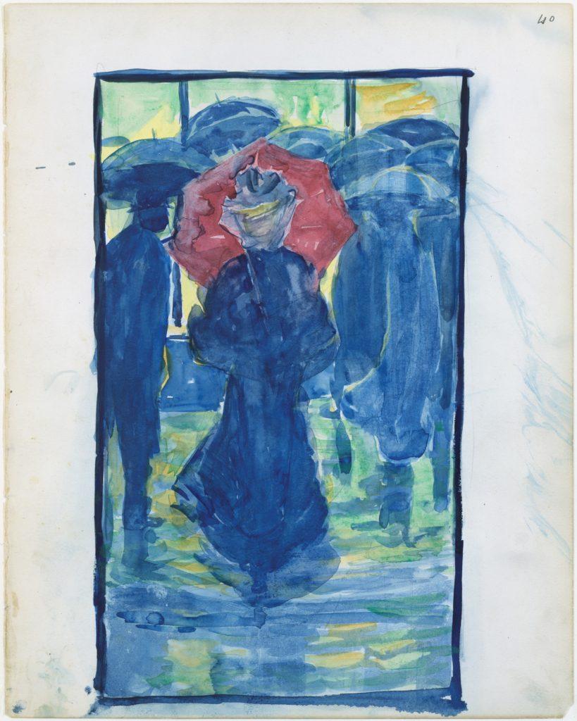 Large Boston Public Garden Sketchbook: Night scene with figures carrying umbrellas