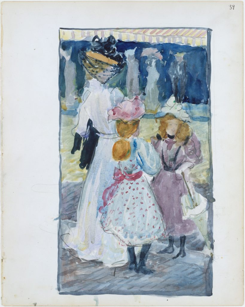 Large Boston Public Garden Sketchbook: Two girls and a woman in a veiled hat