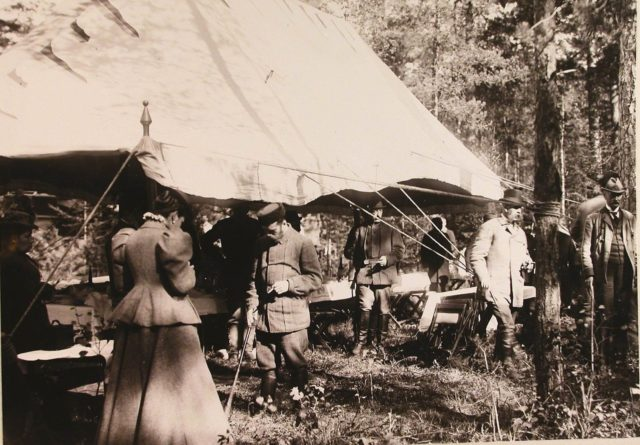 Emperor Nicholas II, members of the imperial family before the start of the royal hunt. Belovezh