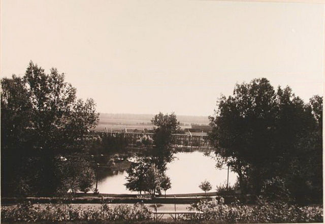 View of part of the pond, arranged in a park near the Bialowieza Palace in 1895 by the design of Valery Cronenberg.