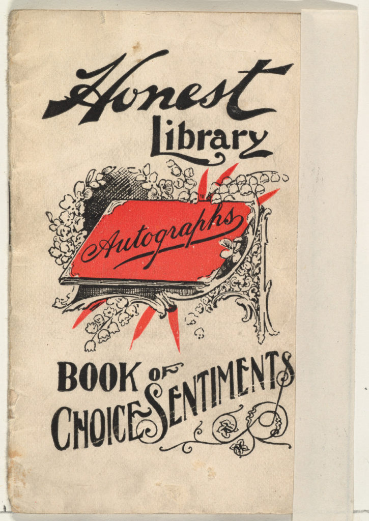 Book of Choice Sentiments, from the Honest Library series (N115) issued by Duke Sons & Co. to promote Honest Long Cut Tobacco