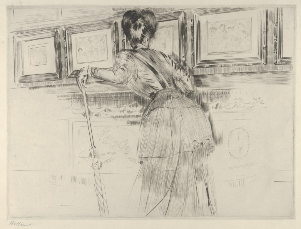 Madame Helleu Looking at the Watteau Drawings in the Louvre