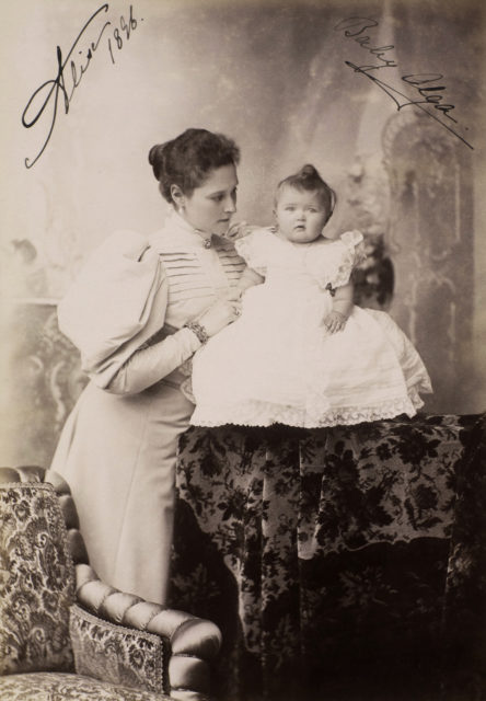 Alexandra Feodorovna, Empress of Russia and Grand Duchess Olga Nicholaevna.  1896
