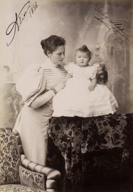Alexandra Feodorovna, Empress of Russia and Grand Duchess Olga Nicholaevna.  1896