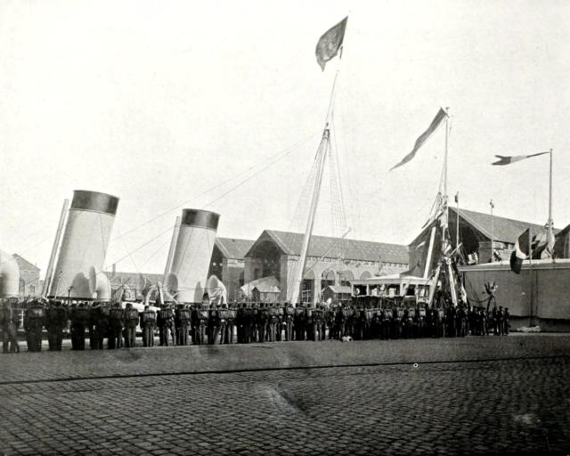 "Cherbourg. Nicholas II, Empress Alexandra Feodorovna ashore The Imperial Yacht ""Polar Star""."