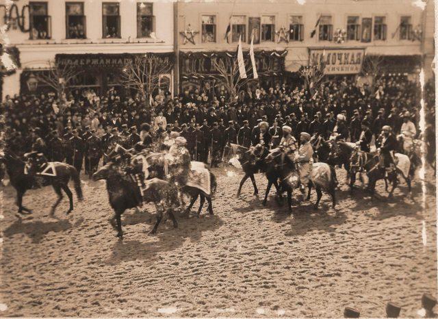 Guests riding at the Coronation of Emperor Nicholas II and Empress Alexandra Feodorovna, 1896