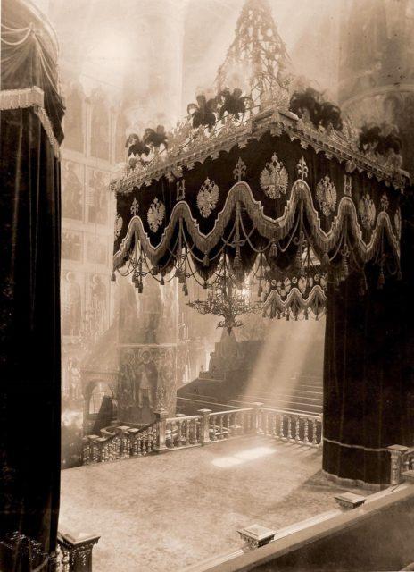 Uspenskiy Cathedral interior. Coronation of Emperor Nicholas II and Empress Alexandra Feodorovna, 1896