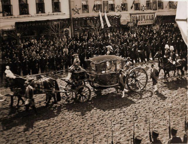 Carriage of the Empress Dowager Maria Feodorovna.  Coronation of Nicholas II and Alexandra Feodorovna, 1896