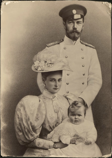 Emperor Nicholas II and Empress Alexandra Feodorovna with Grand Duchess Olga Nicholaevna.1896.