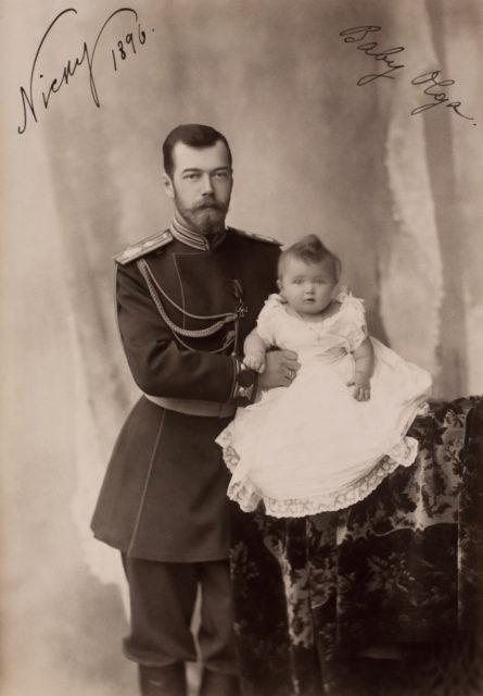 Emperor Nicholas II with Grand Duchess Olga Nicholaevna .1896.