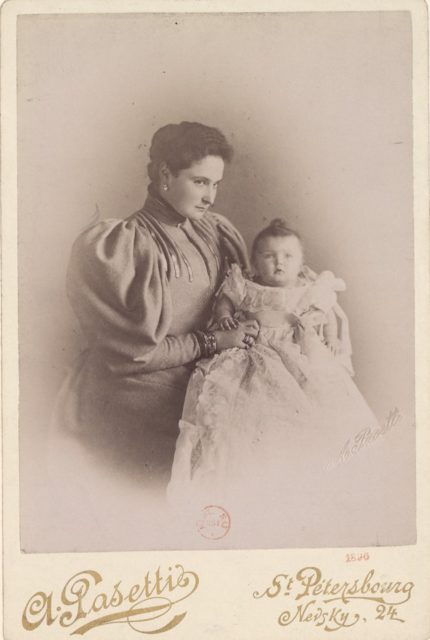 Empress of Russia Alexandra Feodorovna, with daughter
