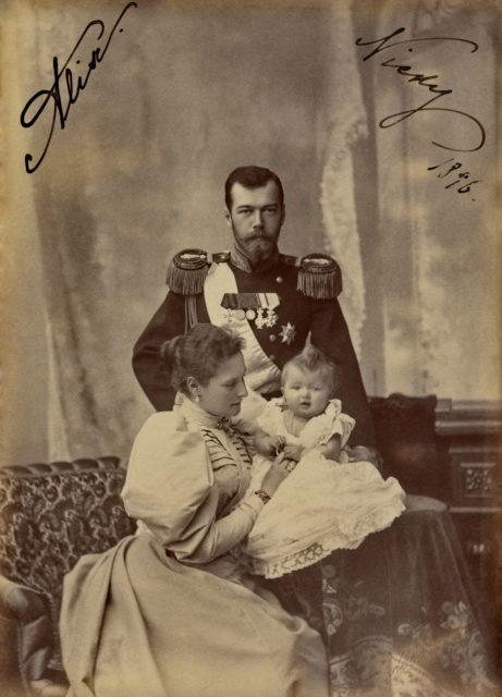 Nicholas II, Emperor of Russia, Alexandra Feodorovna, Empress of Russia and Grand Duchess Olga Nikolaevna. 1896.