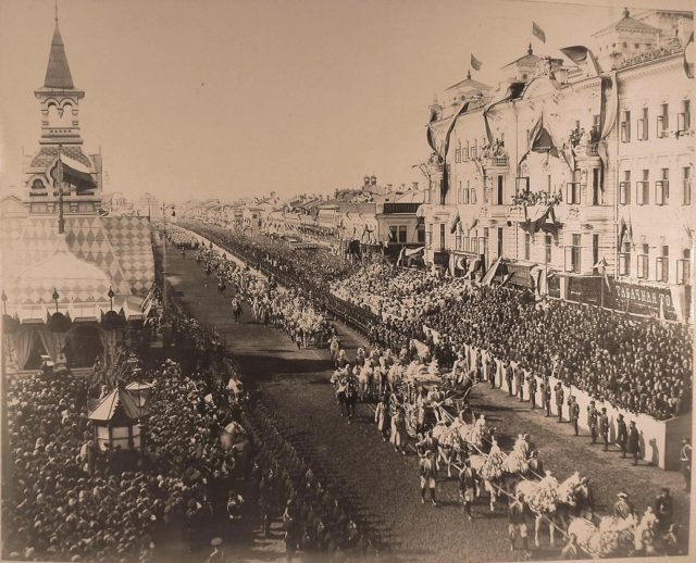 Horse carriages. The coronation cortege passes along Tverskaya Street from the Triumphal Gates