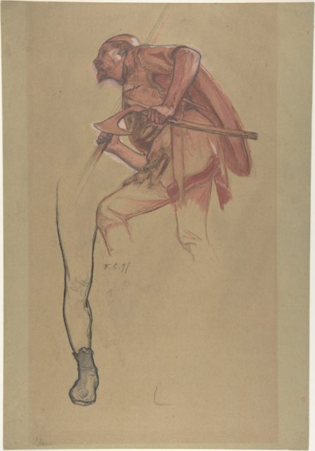 Warrior with an Axe and Study of a Leg