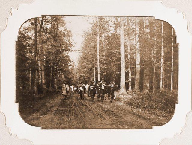 A group of huntsmen on one of the bays of the Belovezhskaya Pushcha