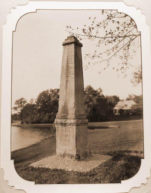 Obelisk near one of the ponds of the Belovezh Palace.