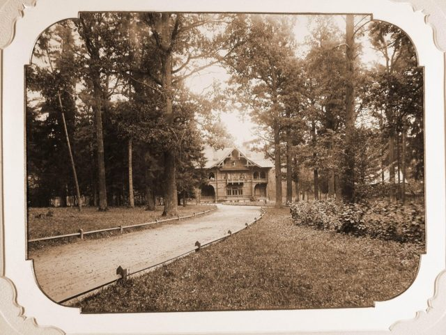 View of one of the palace buildings. Bialowieza Palace