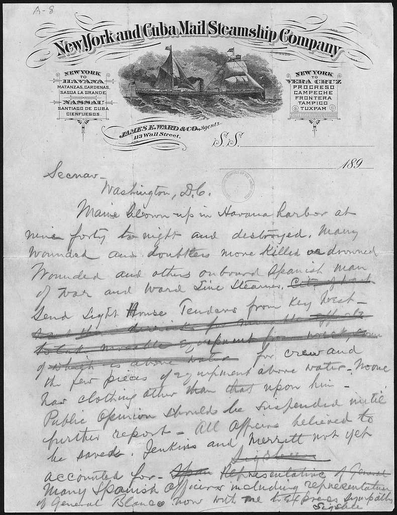 Telegram from Captain Charles D. Sigsbee, Commander of the USS Maine, to the Secretary of the Navy - NARA - 300266