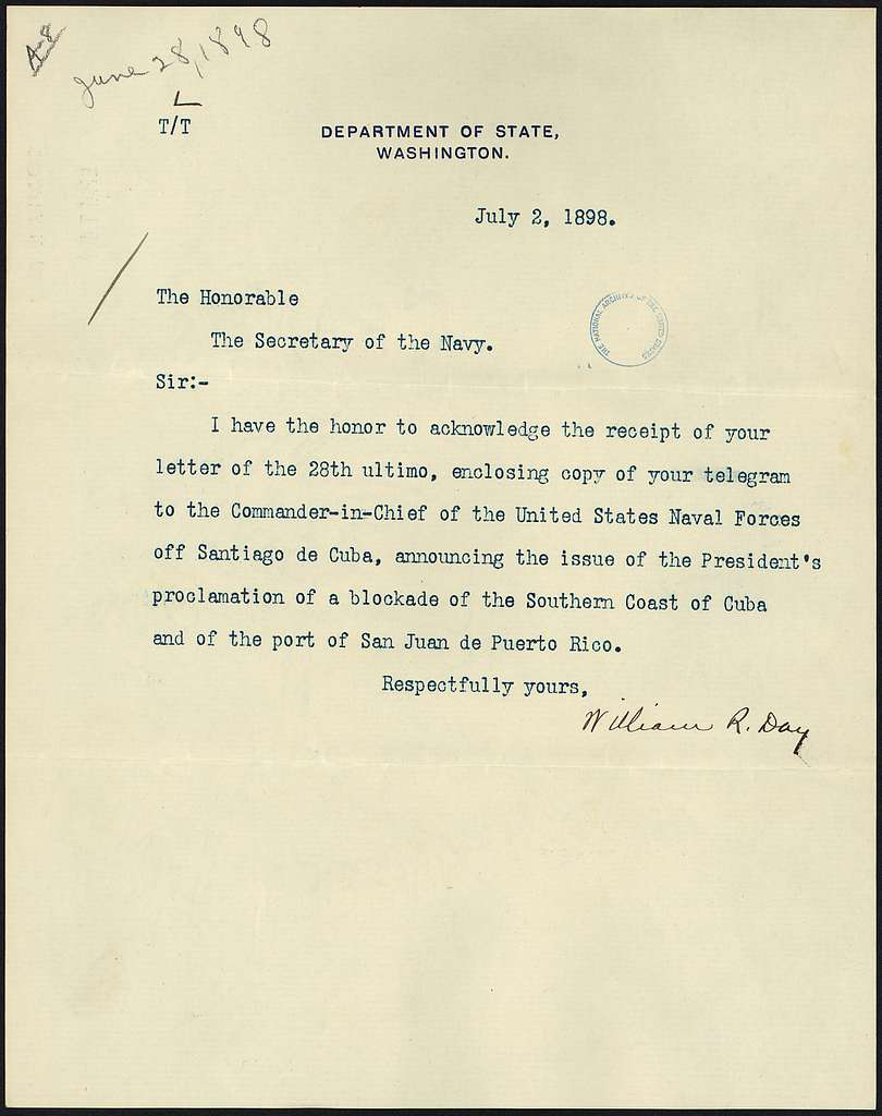 Memo from Secretary of State William R. Day to the Secretary of Navy regarding President McKinley's naval blockade of... - NARA - 300274