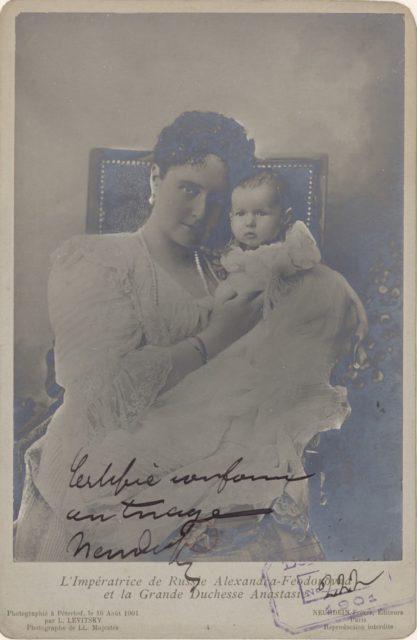Empress of Russia Alexandra Feodorovna and Grand Duchess Anastasia,  portrait
