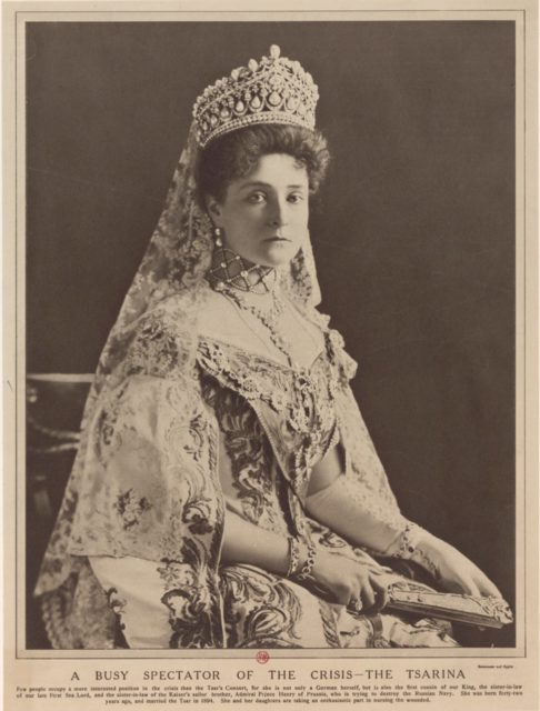 Empress of Russia Alexandra Feodorovna, a busy spectator of the crisi