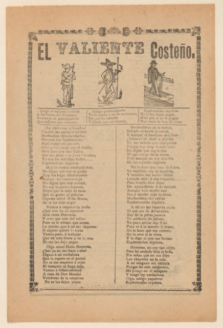 Broadside about a brave man from the west coast of Mexico, who is shown walking down a street wearing a sombrero