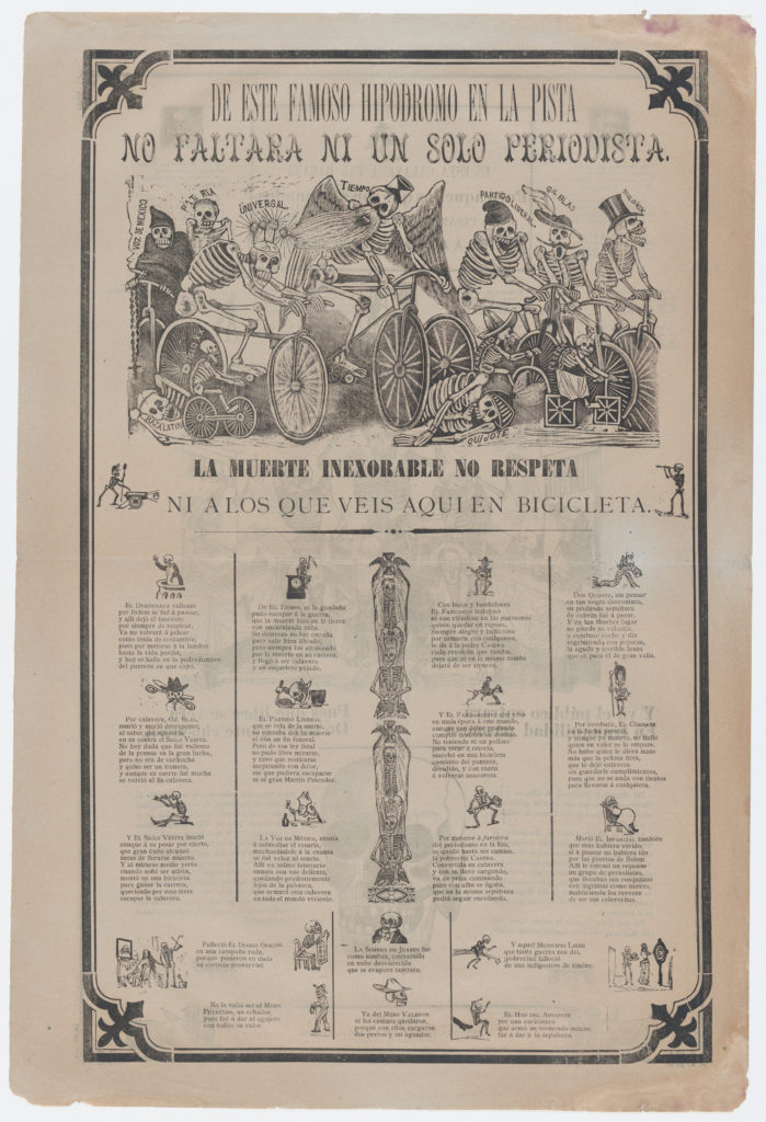 Broadsheet, on recto skeletons riding bicyles entitled 'From this famous hippodrome on the racetrack, not even a single journalist is missing. Death is inexorable and doesn't even respect those that you see here on bicycle'; on verso skeletons buying and selling printed images etc